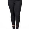 Pantalón crop slim bordado negro
