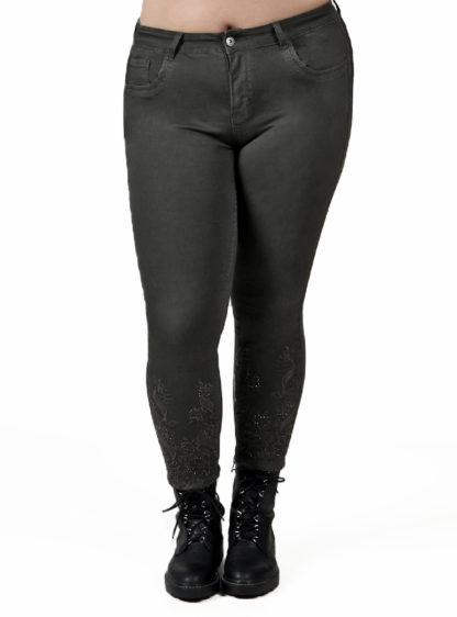 Pantalón crop slim bordado color caqui