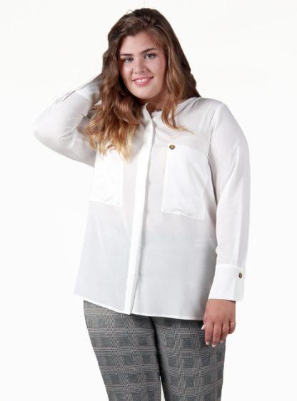 Blusa manga larga bolsillos delanteros