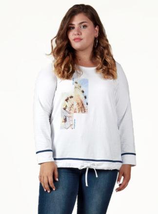 Camiseta manga larga print y ribete